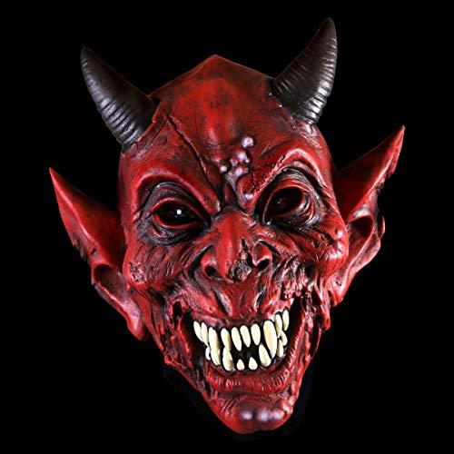Premium Halloween Maske Latex für Herren| Teufel Diablo | Horror-Maske für Halloween-Kostüm | Verschiedene Charaktere aus Horror- & Fantasy-Film | Karneval Fasching Verkleidung