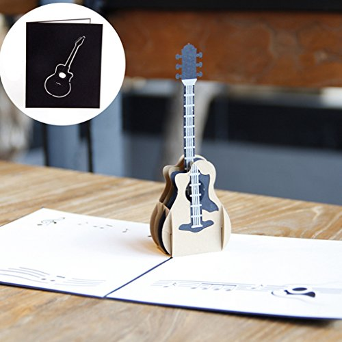 Dabixx 3D Pop Up Musik Gitarre Grußkarte Weihnachten Valentinstag Geburtstagseinladung 13x15cm