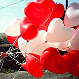 Party Freak Pack Of 50 Heart Shaped Red and White Balloons