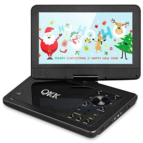 QKK 10.1 Zoll Tragbarer DVD Player, Auto DVD Player, 5 Stunden Akku, 270 Grad drehbares HD Display, unterstützt USB und SD Karte, HD DVD Player, Schwarz, MEHRWEG.