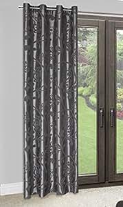 140x245 cm stahl grau anthrazit Vorhang Vorhänge Blumenmotiv Weinrebemotiv Fensterdekoration Gardine Ösenschal Blickdicht AMBER