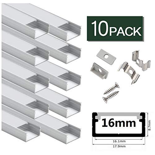 LED Profil breit, StarlandLed Aluminiumkanal 10er-Pack mit komplettem Montagezubehör für bis zu 16mm LED-Streifenlicht, perfekt geeignet für Philips Hue LightStrip Plus