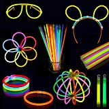 100 Multicolor Glow Sticks Party Pack - Premium Luminous Paquete con conectores - Fluorescentes Pulseras, Collares, Gafas, Diadema, Bola para Fiesta, Festival, Concierto, Cumpleaños + Regalo