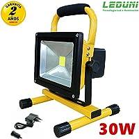 Foco LED Reflector, Foco Proyector Lámpara Camping 30W Recargable Luz Portátil para Trabajo Exterior luz blanca Leduni