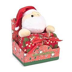 Idea Regalo - Peluche con copertina neonato - design natalizio CHRISTMAS SANTA - peluche a forma di Babbo Natale