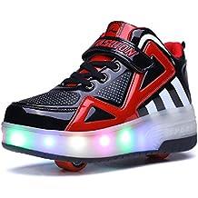Luckly Grace Luces Led zapatos de Skate Automático Brillante Sola Ronda Calzado Deportes de Exterior Roller Patín Zapatillas Gimnasia Sneakers para Niñas Niño pequeños