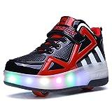 Axcer LED Lumières Clignotant Chaussures à Skates avec roulettes Multisports Outdoor Baskets 7 Couleurs LED Lumineuses Gymnastique Sneakers avec Rouleau de Garçon et Fille (34 EU, Noir)