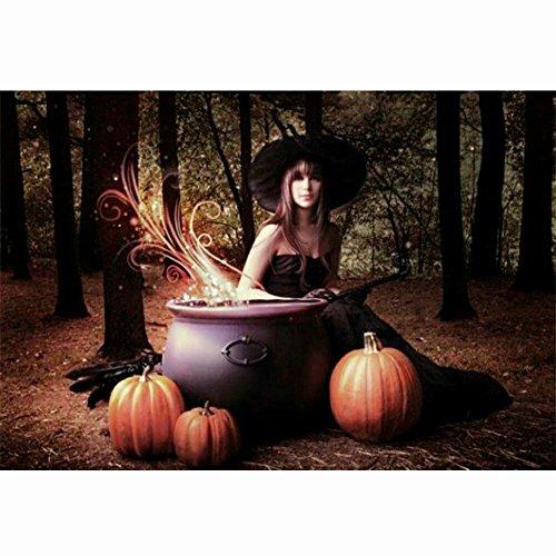 nt-Malerei Full rund Harz Perlen Bilder Frauen Schönheit der Kristalle Diamant Dotz-Kits, Kunst, Handwerk & Nähen Kreuzstich 30*40cm/11.8*15.7inch Halloween Beauty Witch ()