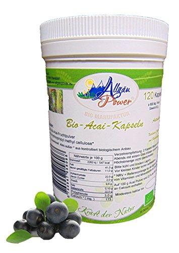 Acai Kapseln - BIO - 120 Stück 600 Mg. 3% Polyphenole die Anti-Aging Beere