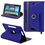 25,4cm Universal PU-Leder 360° Grad drehbar Winkel Ständer Case Cover Folio mit LCD Touch Screen Stylus Pen (dunkelblau)