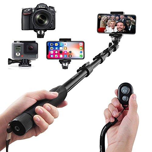 Arespark Selfie Stick Bastone Selfie con Bluetooth Wireless Remote Shutter,Durevole,per iPhone, Smartphone Android, GoPros, DSLR e Fotocamere Digitali, Allungabile Fino a 127 cm
