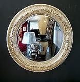 Premierinteriors rund Crackle Schleife Design Wand Spiegel Champagner Rahmen Mosaik Glas 80cm handgefertigt