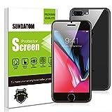 Sundatom - Protection d'écran haut de gamme - iPhone 8Plus, iPhone 7Plus - En verre trempé - Avant et arrière - Résistant aux rayures - Sans bulle - Installation facile
