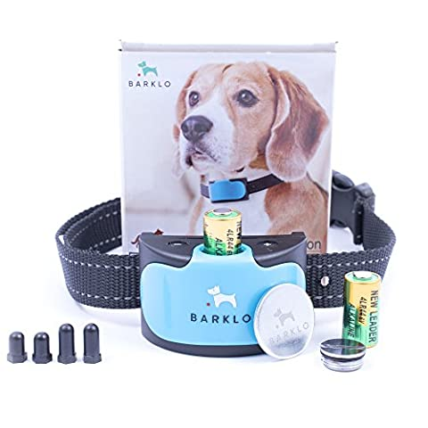 Dog Bark Collar For Small Medium And Large Dogs by Barklo Waterproof Vibrating Anti Bark Training Device ( 12+ lbs ) (Blue)