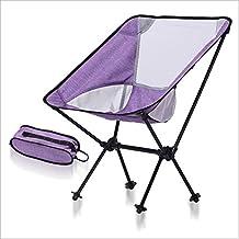 Silla Plegable Al Aire Libre Camping Portable AviacióN AleacióN De Aluminio Silla De Pesca Ligero Silla Moon , purple white
