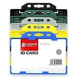 Noir Solide Porte badge 2 cartes double sens Par Lanyards Tomorrow | HORIZONTAL LANDSCAPE 9 x 6.5cm Pour deux cartes CR80 taille de crédit Identité plastique ID Carte Badge Porte-cartes Bureaux 1 Pc