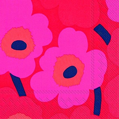 marimekko-designer-finlandais-unikko-style-fleurs-rose-grand-luxe-serviettes-de-table-de-papier-trad