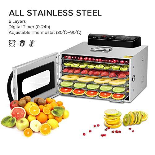 GCSJ 6 Piani Essiccatore Frutta e Verdura in Metallo, 30-90°C Temperatura Regolabile, 24...