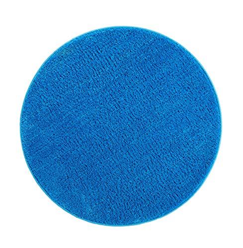andiamo Microfaser Badteppich Größen-Oeko-Tex 100-Badvorleger rund Badematte Polyester blau 80x80 cm