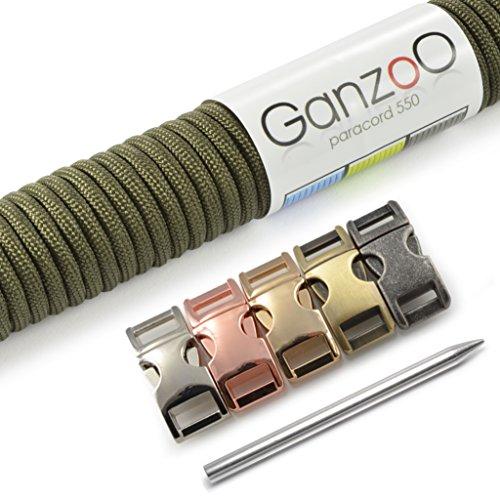 'Ganzoo 550Paracord Set corda, braccialetto, guinzaglio o cani collo nastro di fai-da-te; con 4mm spessore, (Oro 10 Stone)