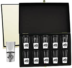 Boxed set of Ten Spirit Shot Glasses with Gun Dog and Duck Badge in Pewter