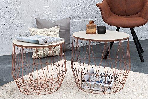 Preiswert DuNord Design Beistelltisch Korb Metall rund 2er Set ...