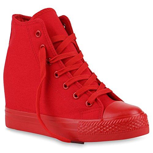 Damen Sneakers Stoff Sneaker Wedges Blumen Camouflage Sneaker Keilabsatz Details Zipper Denim Schuhe 139857 Rot Total 39 Flandell