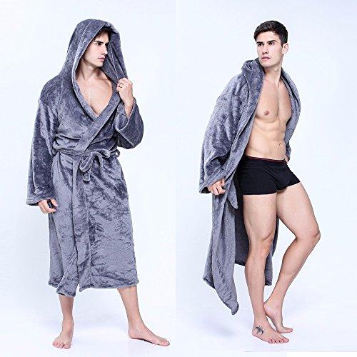 Outwear Jacke Kaputzen Herren Warme Damen Kapuze Robe Plüsch Schal Kimono Bademantel Mantel Grau XXXL (Plüsch-kimono)