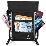 Brustbeutel Brusttasche mit RFID-Blocker für Damen und Herren, BEZ® Versteckte Nackentasche mit mehreren Abteilen für Reisepässe, Leichte Tasche