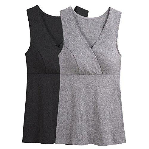KOOYOL Damen Bio-Baumwolle Schlaf Schwangerschafst Still BHs (M/L, H(Black+Gray))