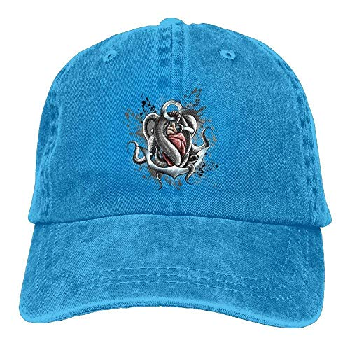 Hoswee Unisex Kappe/Baseballkappe, Octopus Nautical Heart Denim Hat Adjustable Curved Baseball Cap