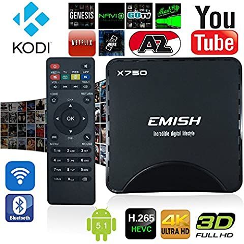 EMISH 2016newst TV Box, Android TV Box, reproductor de juego con KODI, WiFi Bluetooth funciones, Internet Streaming Media Player con Android 5.1Amlogic S90564bits con todos los canales,