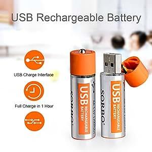 BYD - Pile Ricaricabili Stilo AA ad alta capacità, pre-caricate, 4 pezzi Batterie ricaricabili, durata di 2000 cicli ( 1200 mAh) USB porta di ricarica