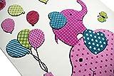 Kinderteppich Spielteppich Kinderzimmer Teppich Elefanten Design Creme Rosa Pink Grün Türkis Schwarz Größe 140 cm Quadrat - 3