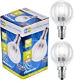 2 x Eco Halogen Energy Saving Mini Golf Balls Globes 28W = 40w SES E14 Small Edison Screw Classic Clear Round, Dimmable Light Bulbs Lamps, G45, Mains 240V