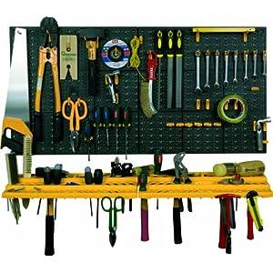 Art Plast Kit due pannelli per attrezzi 50x50 cm completi di due mensole e 50 ganci assortiti, in plastica, nero… 51QeHc6oTuL. SS300