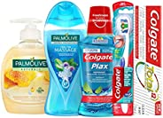 Colgate Palmolive Personal Care Hygiene Kit Toothpaste, 75 ml + Toothbrush, Soft + Mouthwash, 250 ml + Shower