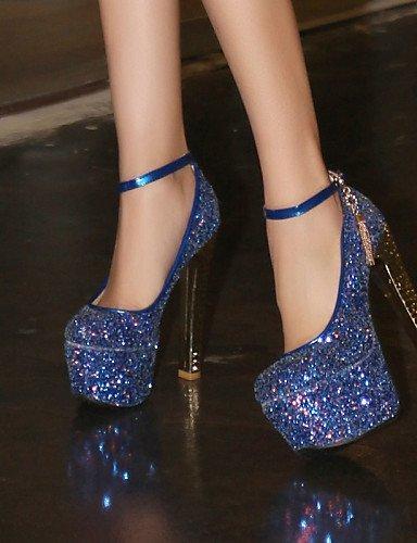 ShangYi Schuh Damenschuhe - High Heels - Hochzeit / Kleid / Lässig - Kunstleder - Blockabsatz - Absätze / Rundeschuh - Blau / Rosa / Weiß White