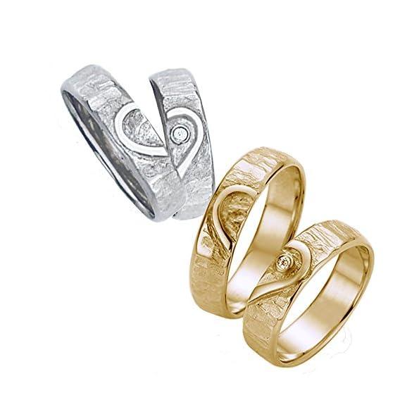 Ein Herz mit Brillant - für die Liebe des Lebens Eheringe, Trauringe, Verlobungsringe, Freundschaftsringe, Partnerringe Silber - Gelbgold oder Weißgold (Amazon-Produktseite anzeigen)