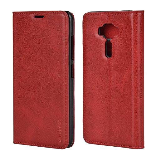Mulbess (Slim Style) Premium Handy Schutzhülle Ledertasche im Kartenfach für Asus ZenFone 3 ZE520KL 5.2 Tasche Hülle Leder Etui Schale,Rot