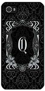 Coque pour Iphone 5/5S - Damas Noir Gris Cadre Q