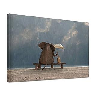 Leinwandbild Bild Tiere Elefant Hund Freundschaft im Regen (60 x 40 cm)