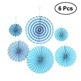 #9: Vosarea 6pcs Hanging Paper Fan Handmade Fans Set for Wedding Birthday Decoration (Blue)