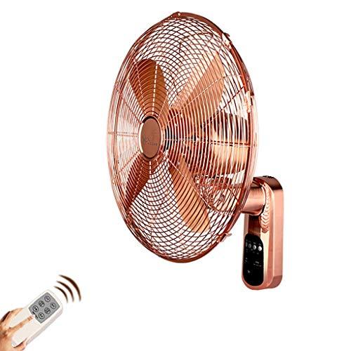 JCOCO European-Style Fernbedienung Rose Gold Wand hängenden Lüfter, Metall Retro leise Schütteln Kopf Fan (größe : 18-in)