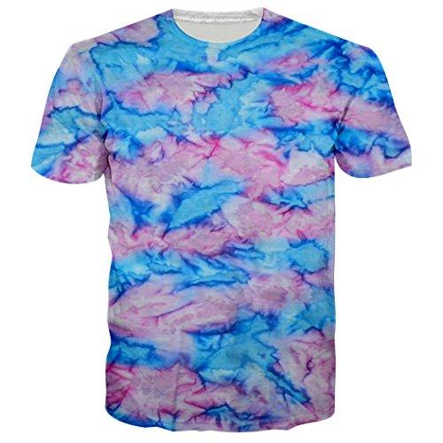 Leapparel Unisex Tie Dye Grafik Design Sommer crewneck T-Shirts Kleider XXL (Grafik T-shirt Herren Crewneck)
