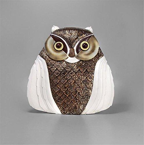 Sacchetto di scuola squisito squisito della borsa della borsa della borsa di zaino del cuoio del gufo , Bianca white