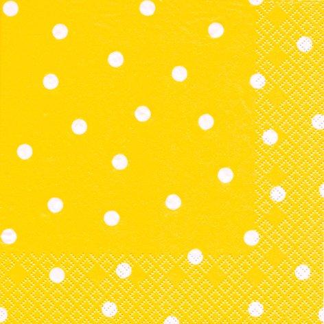 20 Servietten weiße Punkte auf gelb/gepunktet/Muster/zeitlos 33x33cm (Gelbe Servietten Papier)