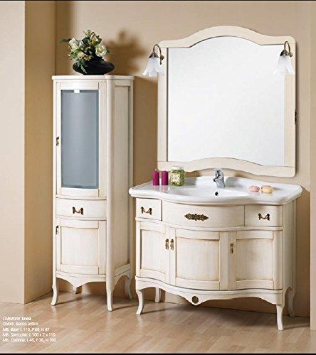 Mobile arredo bagno donatello cm 109 anticato decapè in 4 colori con lavabo in ceramica e specchio mobili