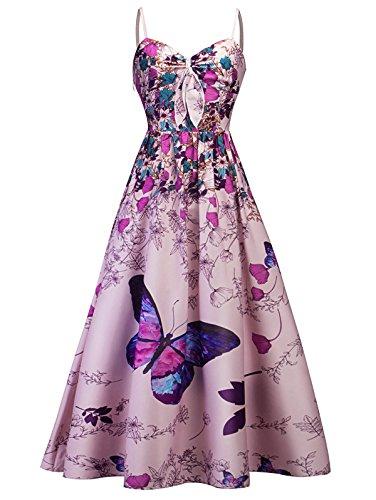 Maxi Flare Kleid Damen Sommer festlich elegant Spitze ärmellose Kleid lang Sommer Rock Kariertes Kleid Damen Vintage v-Ausschnitt Blumiger Bowknot-Druck Kleid