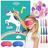 FEPITO Pin das Horn auf dem Einhorn-Geburtstags-Party-Spiel mit 24 Hörnern und 15PCS Unicorn Balloons für Einhorn Party Supplies, Kindergeburtstagsfeier Dekorationen